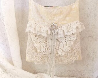 Shabby Pale Yellow and White Brocade and Vintage Lace Shoulder Tote Bag