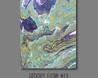 Groovy Abstract Acrylic Flow Painting #13 Ready to Hang 11x14