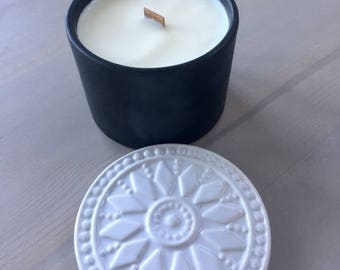 Wooden Wick Oatmeal Milk and Honey Scented Soy Candle, 14oz Black Ceramic Bowl with Decorative White Sunburst Lid
