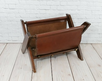 Vintage Wood and Leather Sling Magazine Book Rack