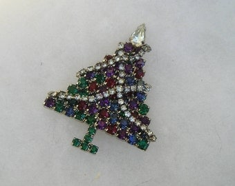 Vintage Czech Glass Multi Colored Rhinestone Christmas Tree Pin