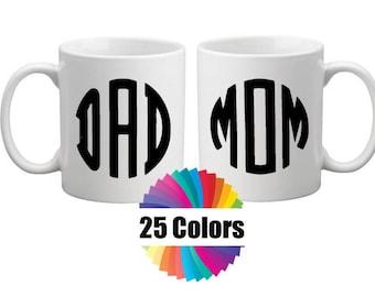 Coffee Mug Cup Decal Monogram Custom 3 Letter Monogram Mom Dad Acrylic Cup Laptop DIY Gift Tumbler Rambler Choose From 25 Colors