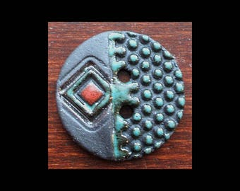 Handmade Ceramic Button: Turquoise and Red on Black Stoneware