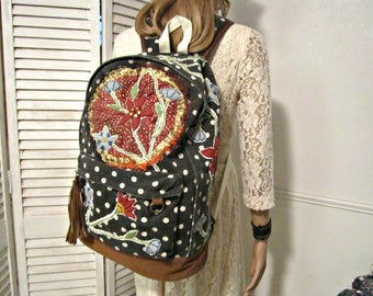 Backpack, Upcycled Backpack, Canvas Backpack, Textile Backpack,  Recycled Backpack