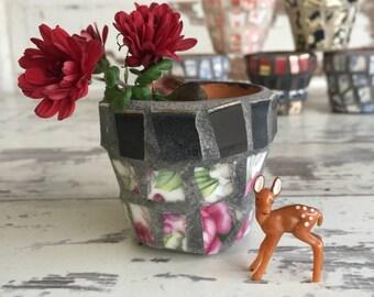 Broken China Mosaic Mini Flower Pot - Choice of Colors - Great Tiny Gift