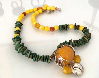 Turquoise & Amber Necklace - Sterling Silver Pendant - Ethnic Necklace - Handmade - Fine Jewelry