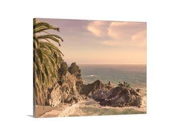 Big Sur Print, Big Sur Photography, McWay Falls, Beach Art, California Coast, Palm Trees, Coastal Art, Seacoast, Birthday Gift, Canvas Print
