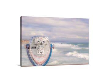 Beach Art, Oceanside California, Pastel Ocean Art, Ocean Pier Photo, Ocean Waves, Art on Canvas, Viewfinder, California Coast, Pastel, Gift
