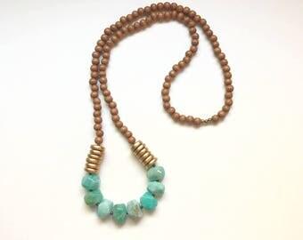 Long Green Amazonite Beaded Necklace-Long Boho Wood Beaded Necklace-Long Gemstone Necklace-Celeste Lauren Jewelry Designs