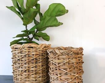 large woven bamboo baskets - tall round rattan plant basket - boho home storage