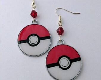 Pokeball Earrings, Pokemon Metal and Crystal Hypoallergenic Geekstar Geek Earrings