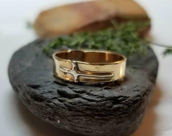 Petite Cross Ring, Brass, Sterling Silver, Fine Silver, Women's Cross Ring, Men's Pinky, Rustic Cross Ring, Gold Ring, Religious, Christian