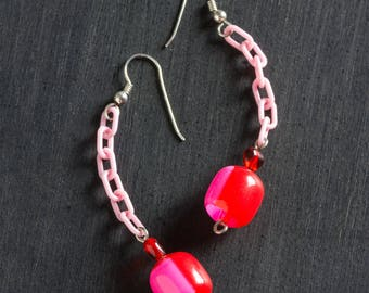 50% OFF SALE Pink Candy Drop Vintage Valentine Lucite Earrings with Glass Heart Bead and Plastic Chain Jewelry Sterling Silver Ear Hooks