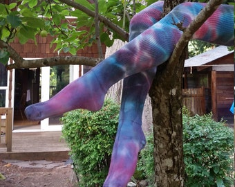 Turquoise, pink and purple tie-dye thigh high socks