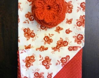 Red Prairie Floral Crochet Tawashi Kitchen Dish-washing scrubby 3 pack set cotton kitchen towels hand towel set red scouring pad