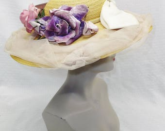 1950s Vintage Straw Wide Brim Hat with Roses Bow Tulle by Erna Indianapolis