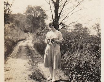 Original Vintage Photograph Snapshot Woman Standing in Road 1920s