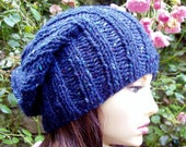 KNITTING PATTERN/SEATTLE Chunky Slouch Hat Pattern WomansToque Slouch Beanie Pattern Slouch Pattern/Quick Knit/Easy Beanie Pattern/KnitRound