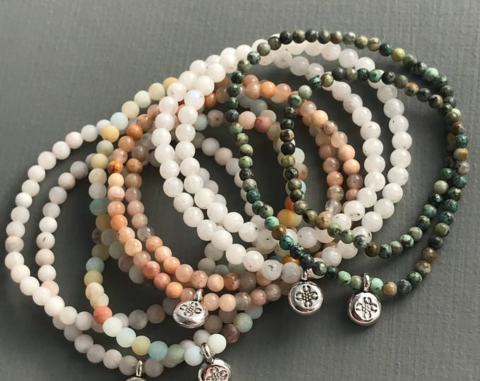 delicate wrap stretch gemstone bracelet - wrap bracelet, delicate bracelet, tiny bracelet, simple bracelet, gemstone bracelet, tiny jewelry