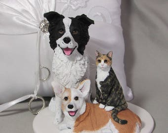 RESERVED for boggy48 - Deposit for Custom Made Clay 3 Dog Wedding Cake Topper Sculpture