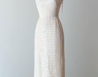 Vintage 1960s Dress - 60s Sequin Covered, Iridescent, Floor-Length Evening Gown w/ Low, Open Back // Waist 24