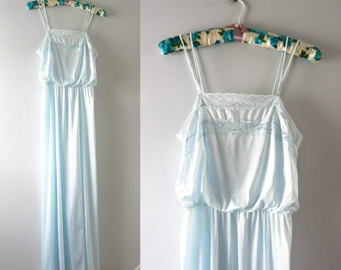 Vintage Blue Nightgown | 1970s Pale Blue Nylon Gown Nightgown S
