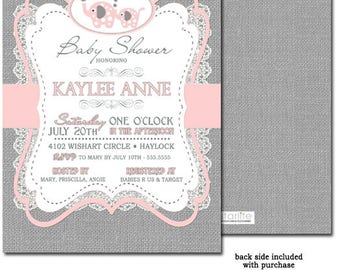Elephant Baby Shower Invitation Girl Pink Grey | Pink Gray Baby Shower Invitation | Burlap Lace Vintage Girl Baby Shower Invitation
