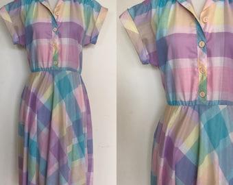 80s Madras Plaid Shirtdress | 1980s Pastel Plaid Dress