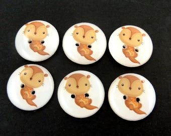 """6 Otter Sewing Buttons. 3/4"""" or 20 mm. Washable Sewing, Knitting and Crafting Buttons.  Novelty Buttons."""