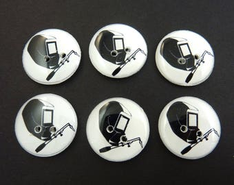 "6 Welder Buttons  3/4"" or 20 mm.  Welder Mask or Welder Helmet with Welding Torch Buttons."