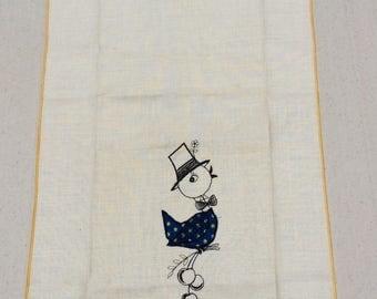 Vintage Towel Embroidered & Applique Boy Bird Carries Cherries MWT