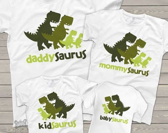 Dinosaur daddy mommy kid baby saurus matching FOUR shirt gift set - fun new baby welcome gift MDF1-016-M4