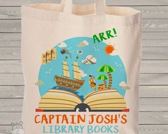Pirate library book personalized tote bag - choose value or heavyweight tote MBAG1-053