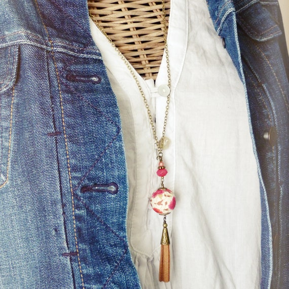 Liberty necklace, Tassel necklace, Long boho necklace, Liberty jewelry, Vegan necklace, Long tassel necklace, Free shipping, Spring trends