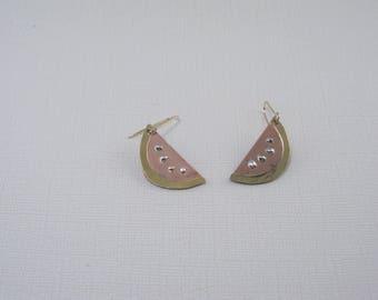 Watermelon Slice Earring Copper Brass Silver Earrings Summer Fruit Drop Whimsical Long Dangles Watermelon Earrings Handmade Rare Find