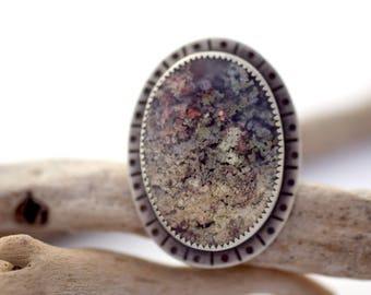 Plume Agate Ring, Statement Ring, Unusual Ring, Agate and Sterling Silver Ring, Statement Jewelry, Large Ring, Hand Stamped Ring Size 7.5
