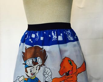 """Funky Digimon Ladies Skirt  from vintage upcycled fabric-  22"""" - 26"""" waist"""