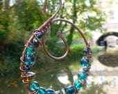Suncatcher Garden Art Rustic Tree Decoration Window Charm Copper Blue Glass Bead Wire Wrapped Decor