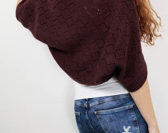 Knit sweater Little cardigan sweater little shrug plum Wine sweater