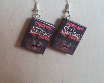 Pet Sematary Mini Book Earrings -  Pet Sematary Jewelry - Stephen King Book Earrings - Pet Sematary Book Earrings-Stephen King Book Jewelry