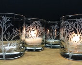 Forest Branches Candle Holders 12 pcs Summer Weddings Home Decor Cabin Decorations Table Decor Engraved Glass Candles