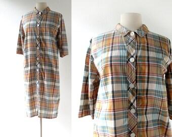 60s Plaid Dress | Bar Harbor | Cotton Shift Dress | 1960s Dress | M L