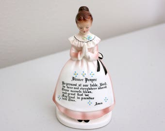 Prayer Lady Napkin Holder, Vintage Enesco Japan Ceramic Figurine, 1950s Praying Girl
