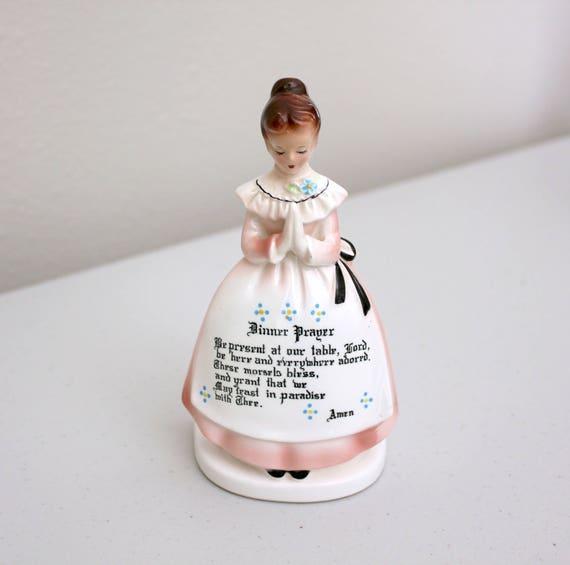 Vintage Prayer Lady Napkin Holder, Enesco Japan Figurine