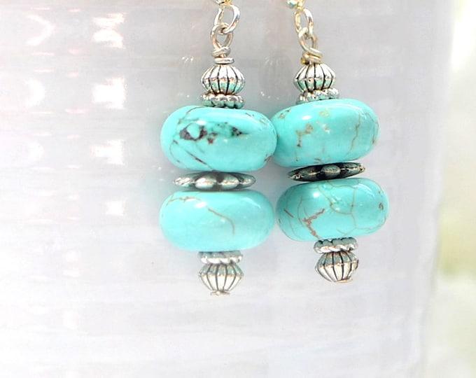 Earrings Dangle Drop Earring Turquoise Howlite Earrings Blue Silver Earrings Plated Earwire Leverback or Sterling Silver