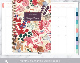 MONTHLY PLANNER notebook | 2018 2019 no weekly view | choose your start month | 12 month calendar monthly tabs | purple pink floral
