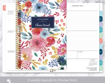 planner 2018 | 12 month calendar | add monthly tabs weekly student planner | personalized planner agenda | pink blue white watercolor floral