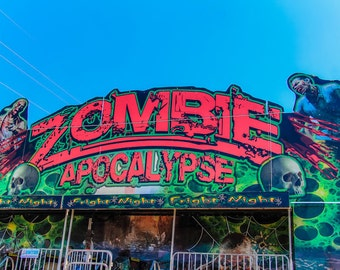 Zombie Apocalypse House Fine Art Print- Carnival Art, County Fair, Horror, Gore, Scare House, Fright Night, Halloween