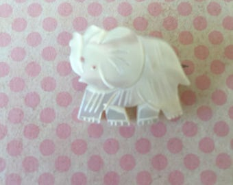 Vintage Mother of Pearl Carved White Elephant Brooch Pin animal