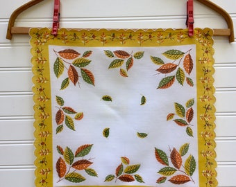Vintage Autumn Leaves Hanky, Midcentury Scalloped Hanky, Yellow, Green and Orange Leaves, Acorns, Pine Cones